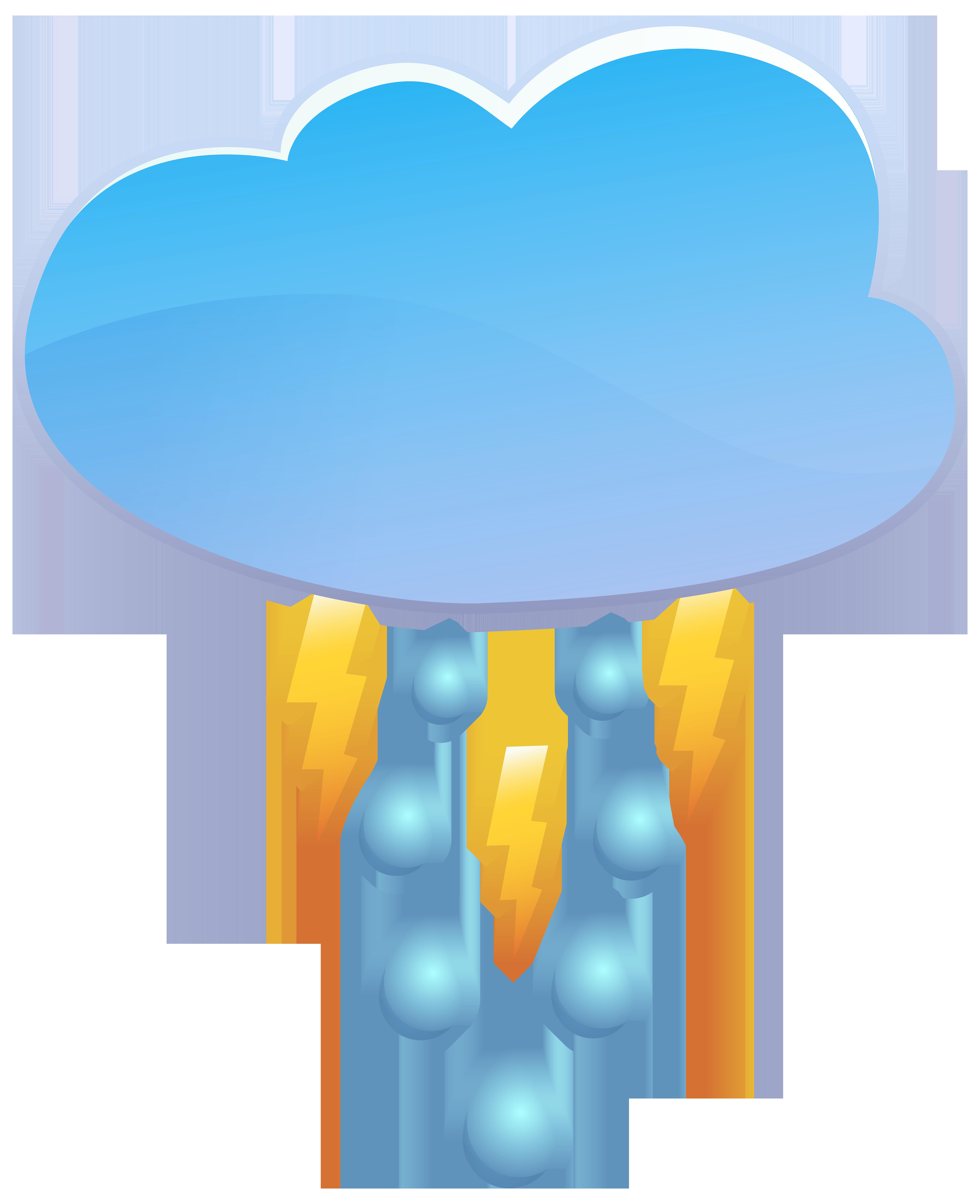 Cloud rain and thunder. Coins clipart raining
