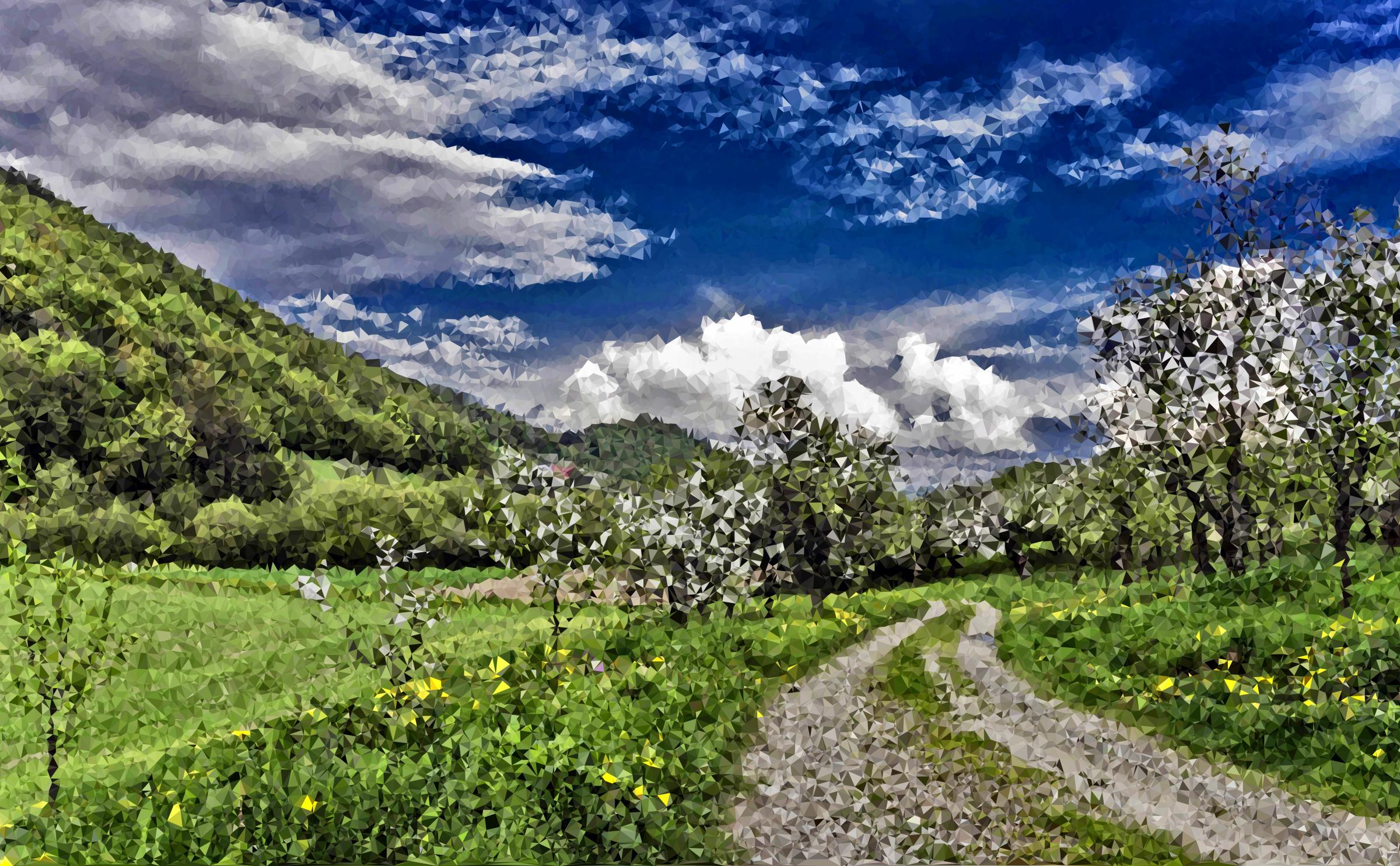 High poly path big. Hills clipart spring