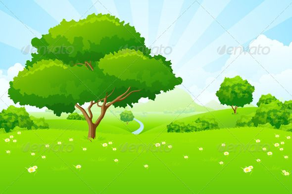 Landscaping clipart tree. Landscape with blue sky