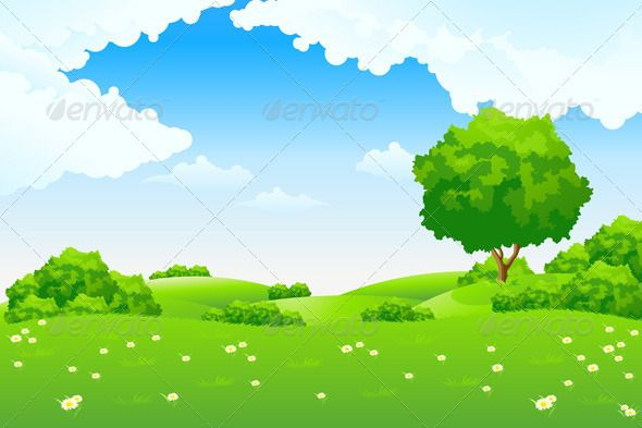 Green with trees and. Hills clipart landscape