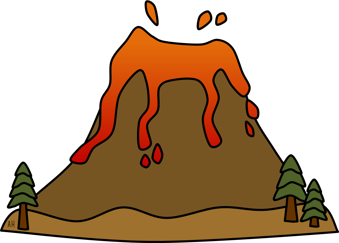 Volcano clip art free. Einstein clipart silhouette