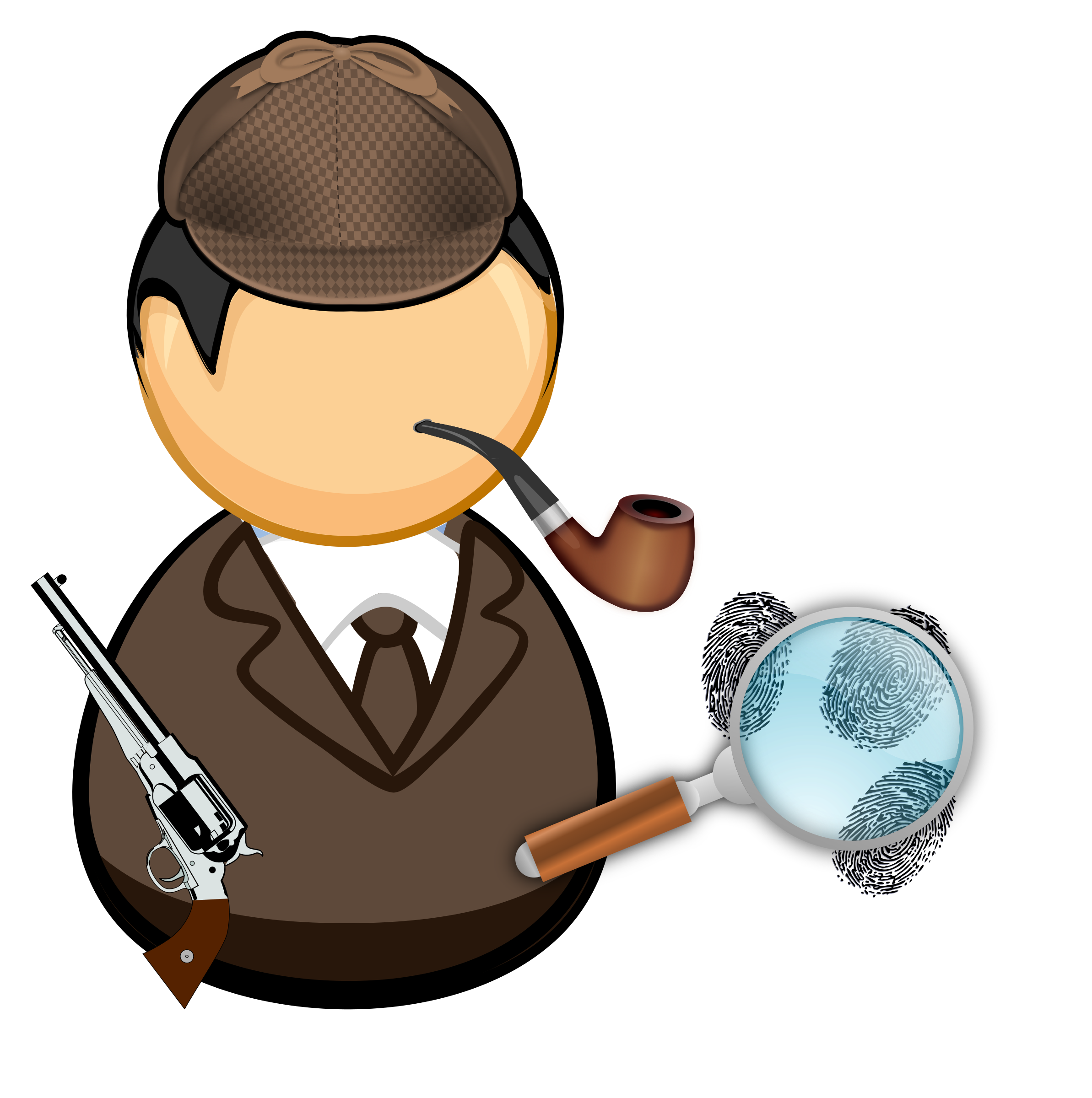With pipe and magnifying. Fox clipart detective