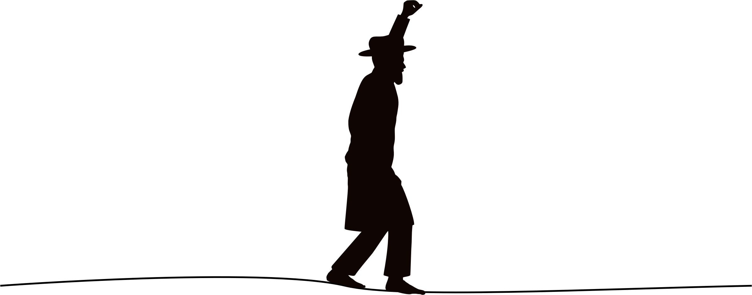 Tightrope walker silhouette adapted. Clipart hat coat