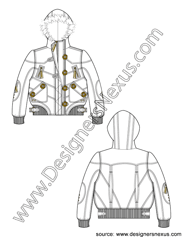 Fur trim puffer sketch. Clipart coat hooded jacket