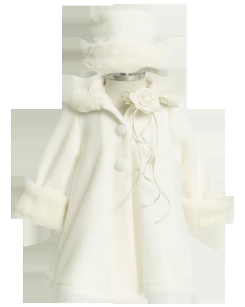 Clipart coat hooded jacket. Ivory fleece fur trim