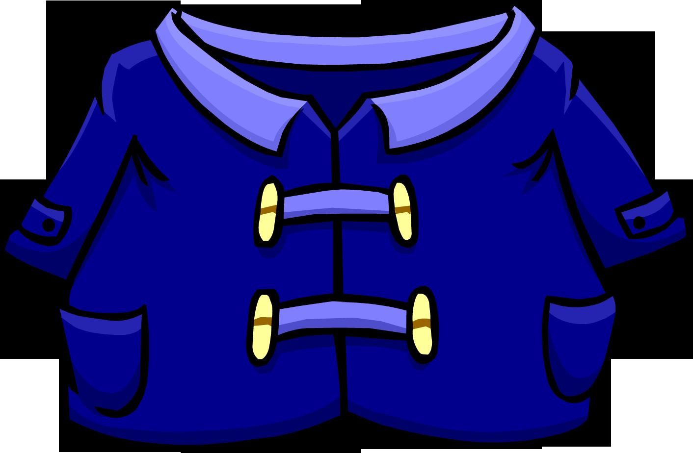 Blue duffle club penguin. Jacket clipart trench coat
