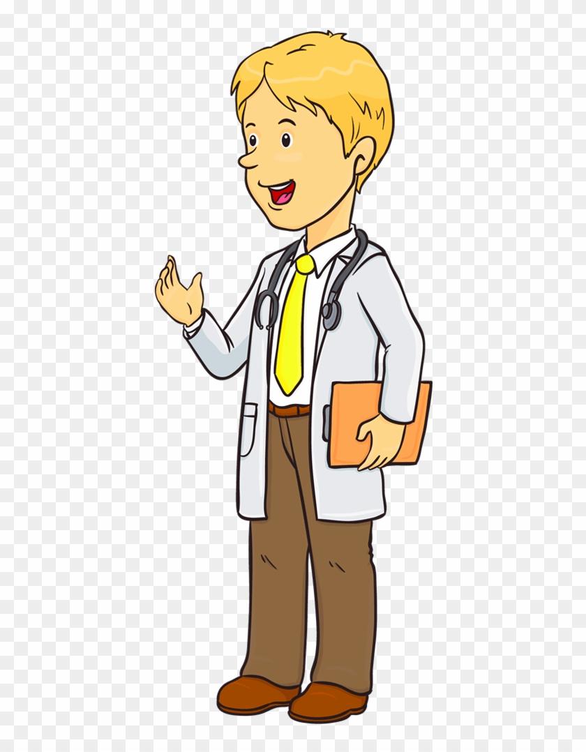 Medical med student cartoon. Clipart coat school