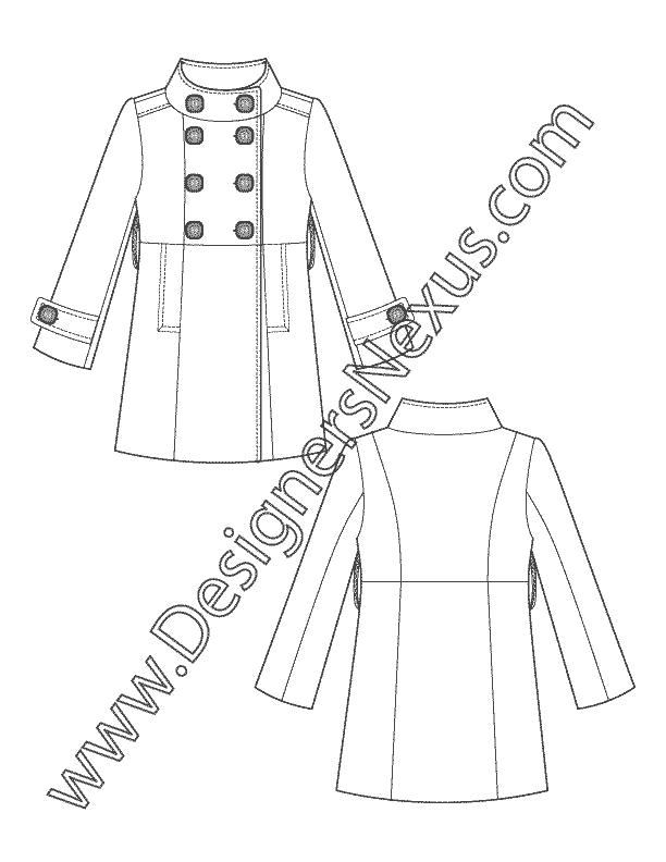 Technical flats v double. Jacket clipart trench coat