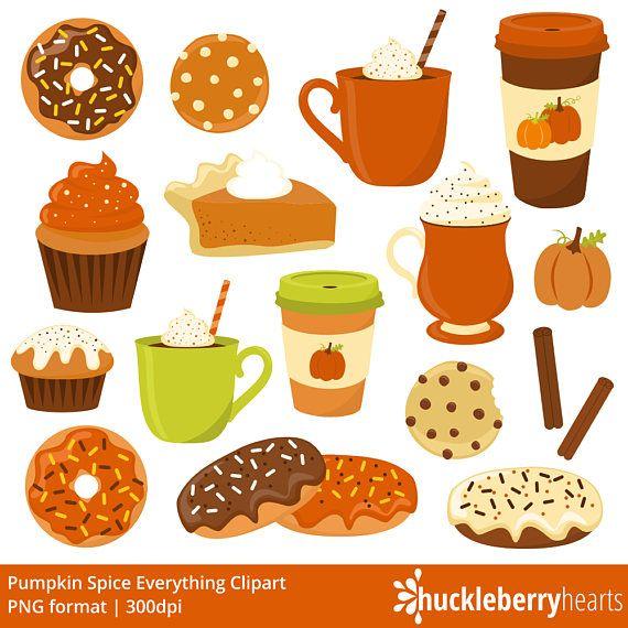 Spice fall coffee . Pumpkin clipart donut