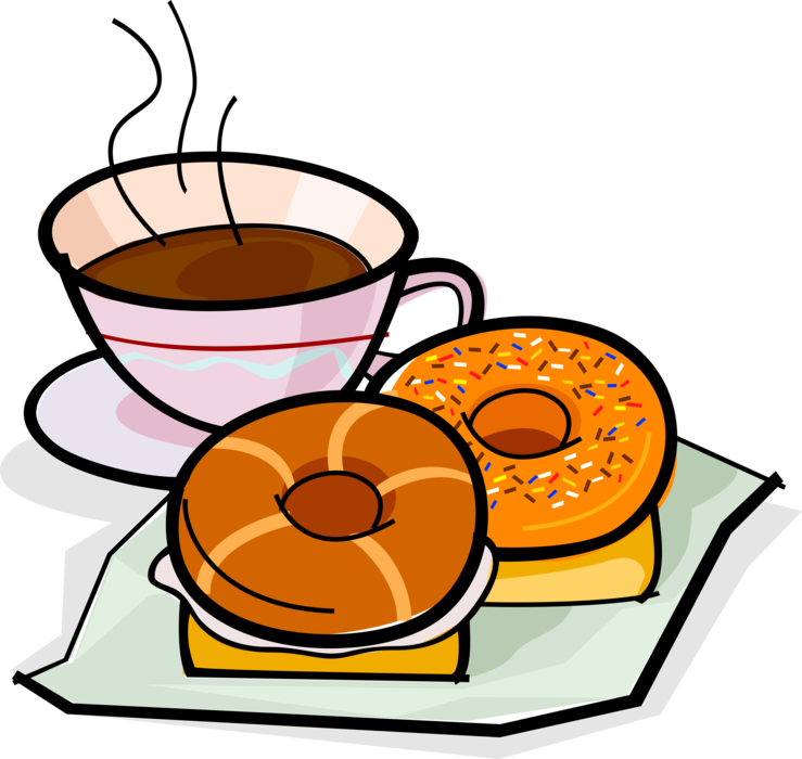 And donut or vector. Doughnut clipart coffee