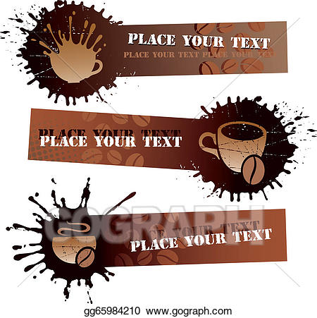 Vector art drawing gg. Clipart coffee banner