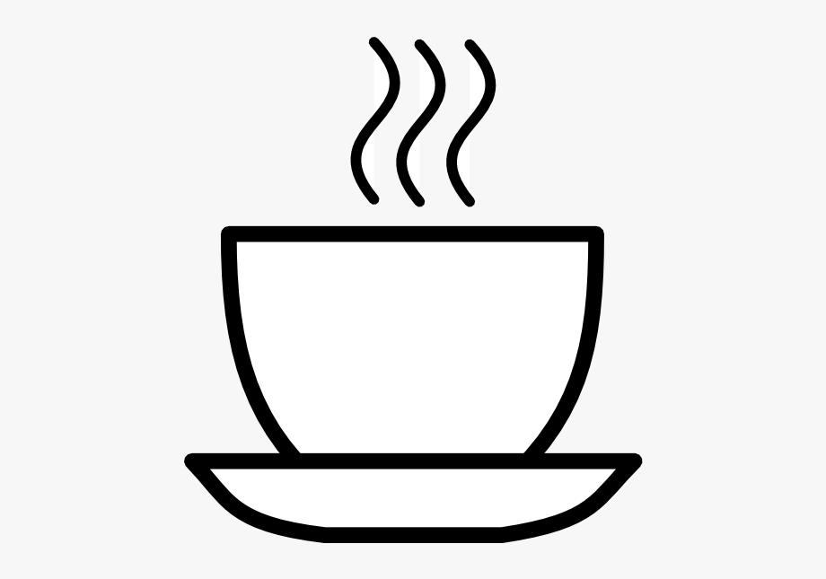 Black and white clip. Coffee clipart line art