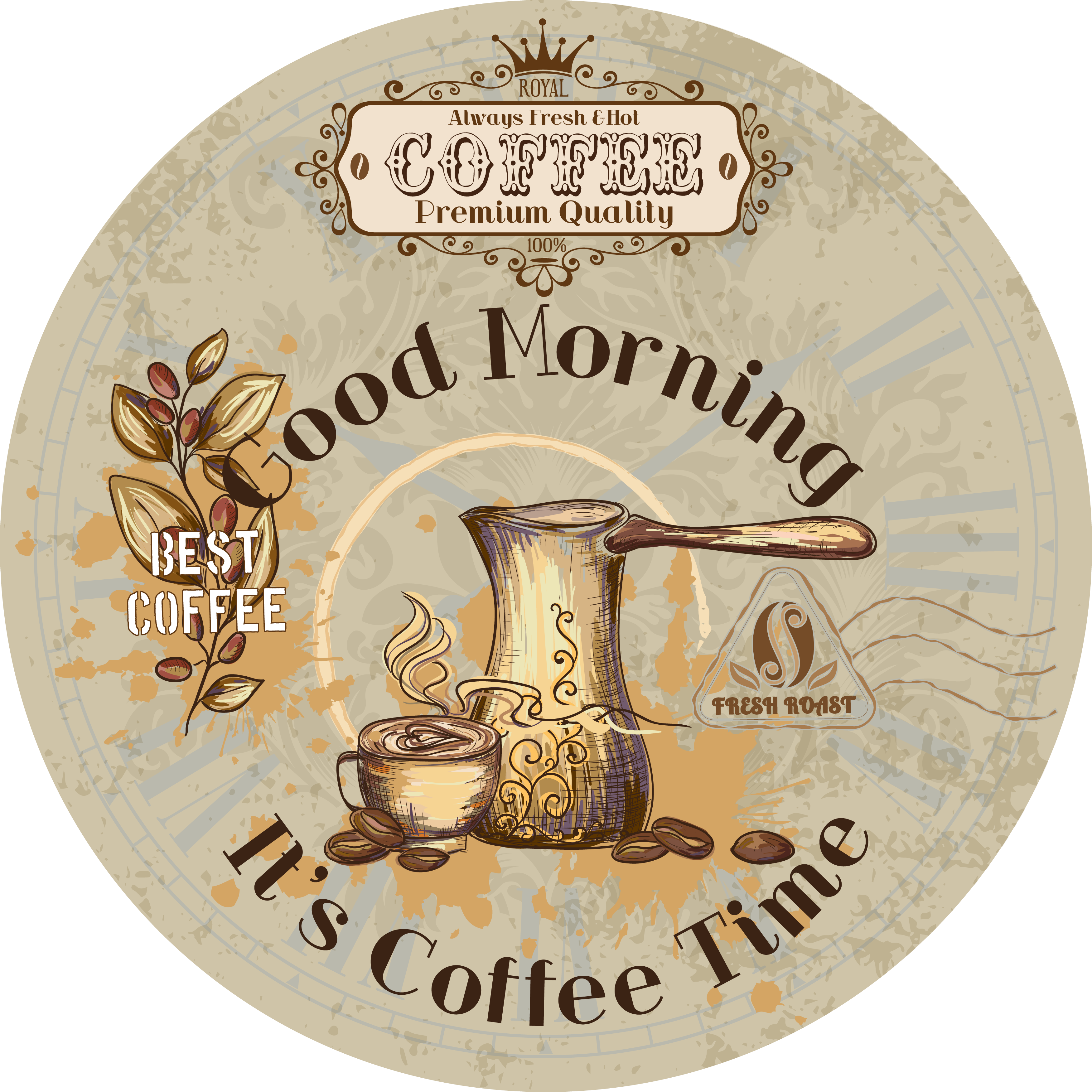 My design time vintage. Clipart coffee cheer