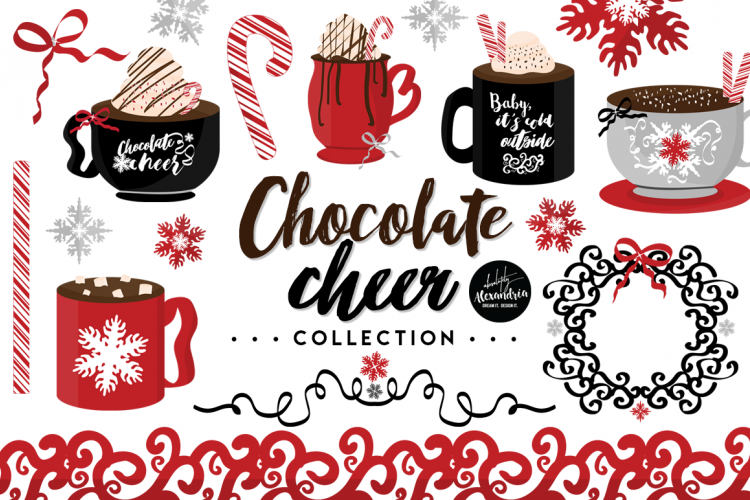 Clipart coffee cheer. Chocolate graphics digital paper