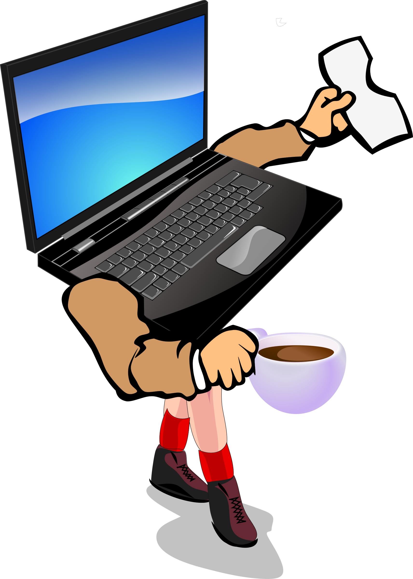 Clipart coffee computer. Walking laptop