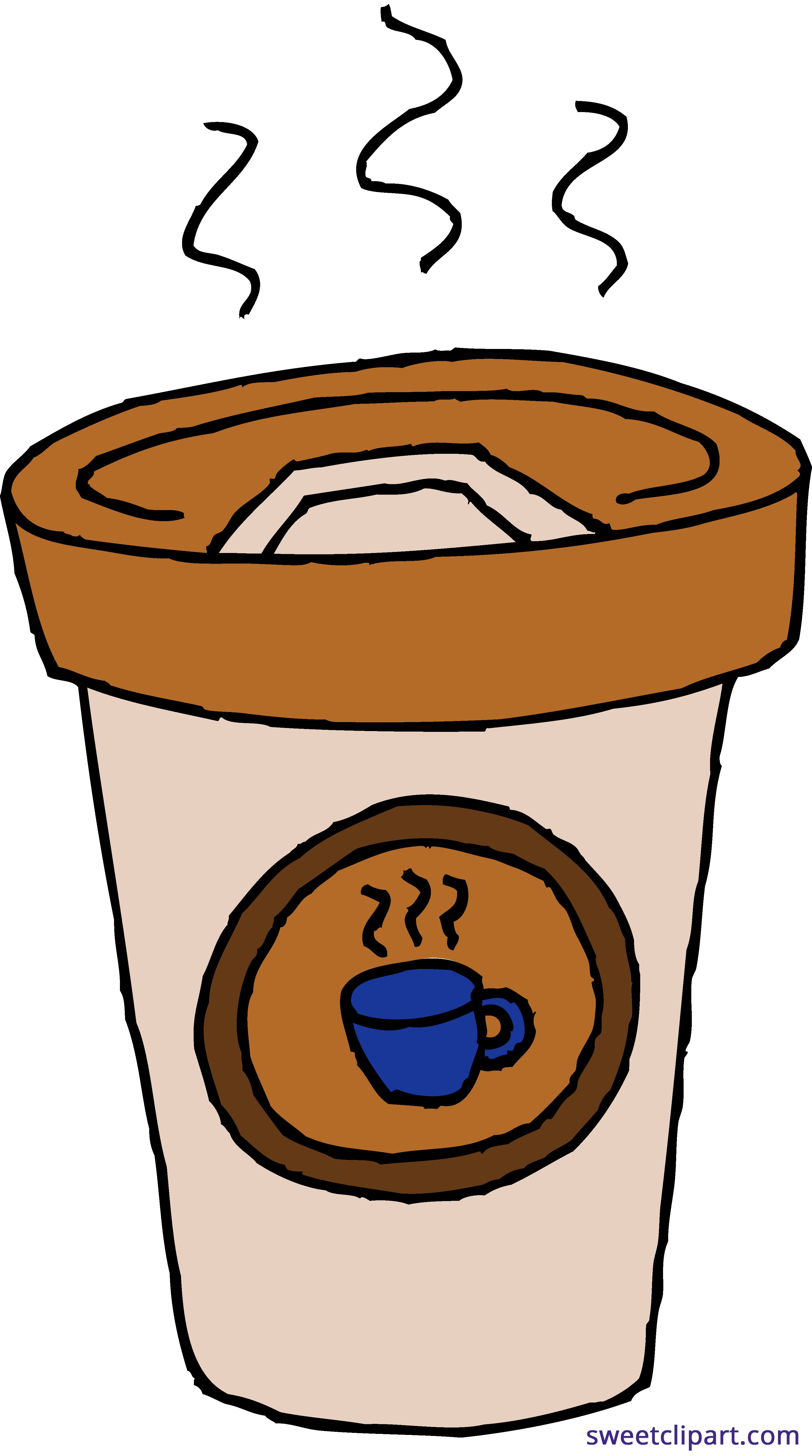 Clipart coffee cute. Latte paper cup sweet