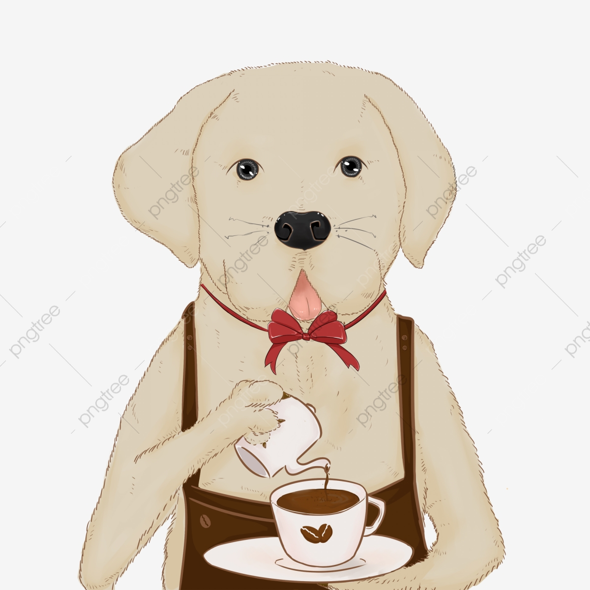 Clipart dog coffee. Cartoon cute pouring element