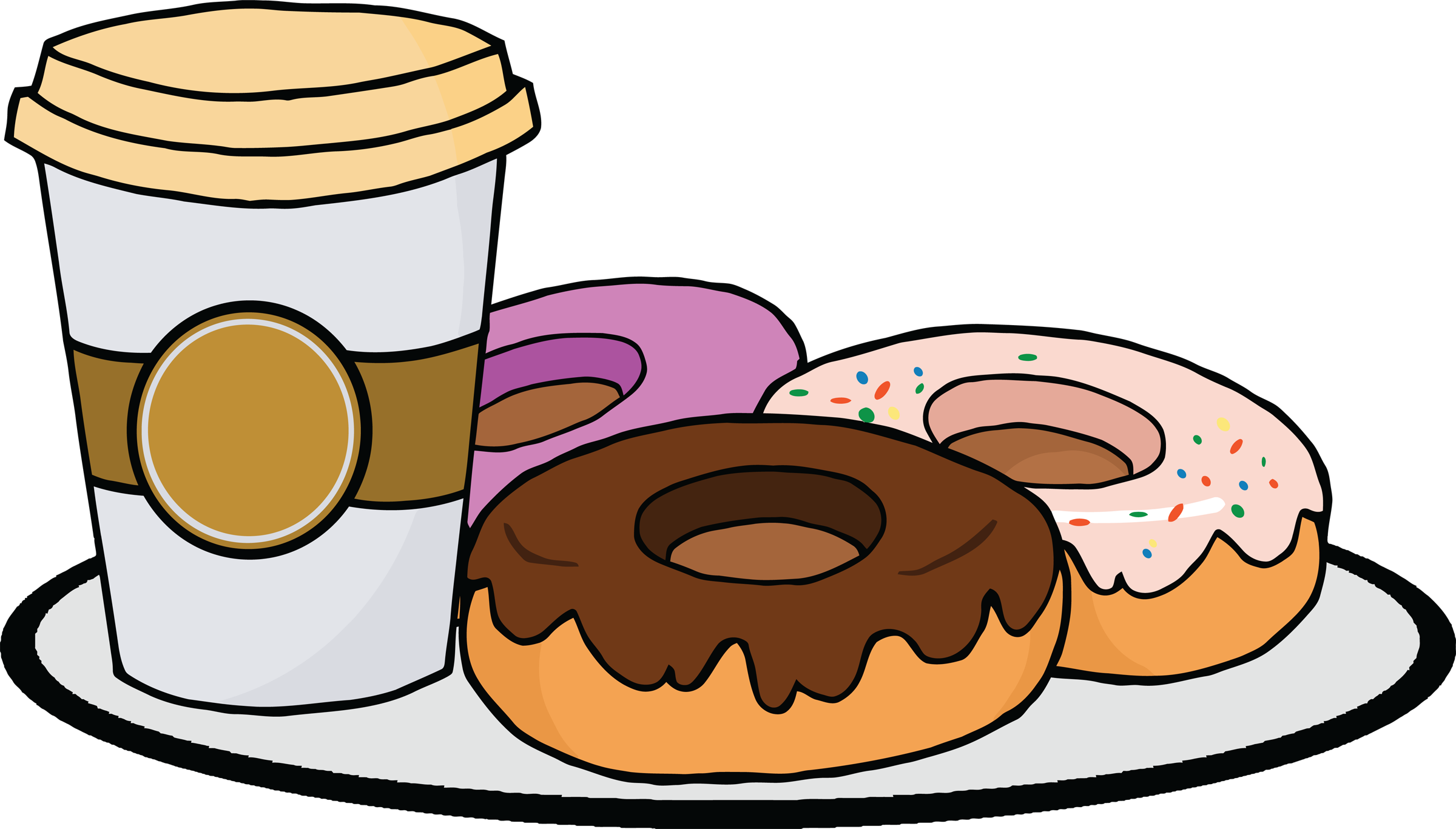 collection of and. Clipart coffee donut