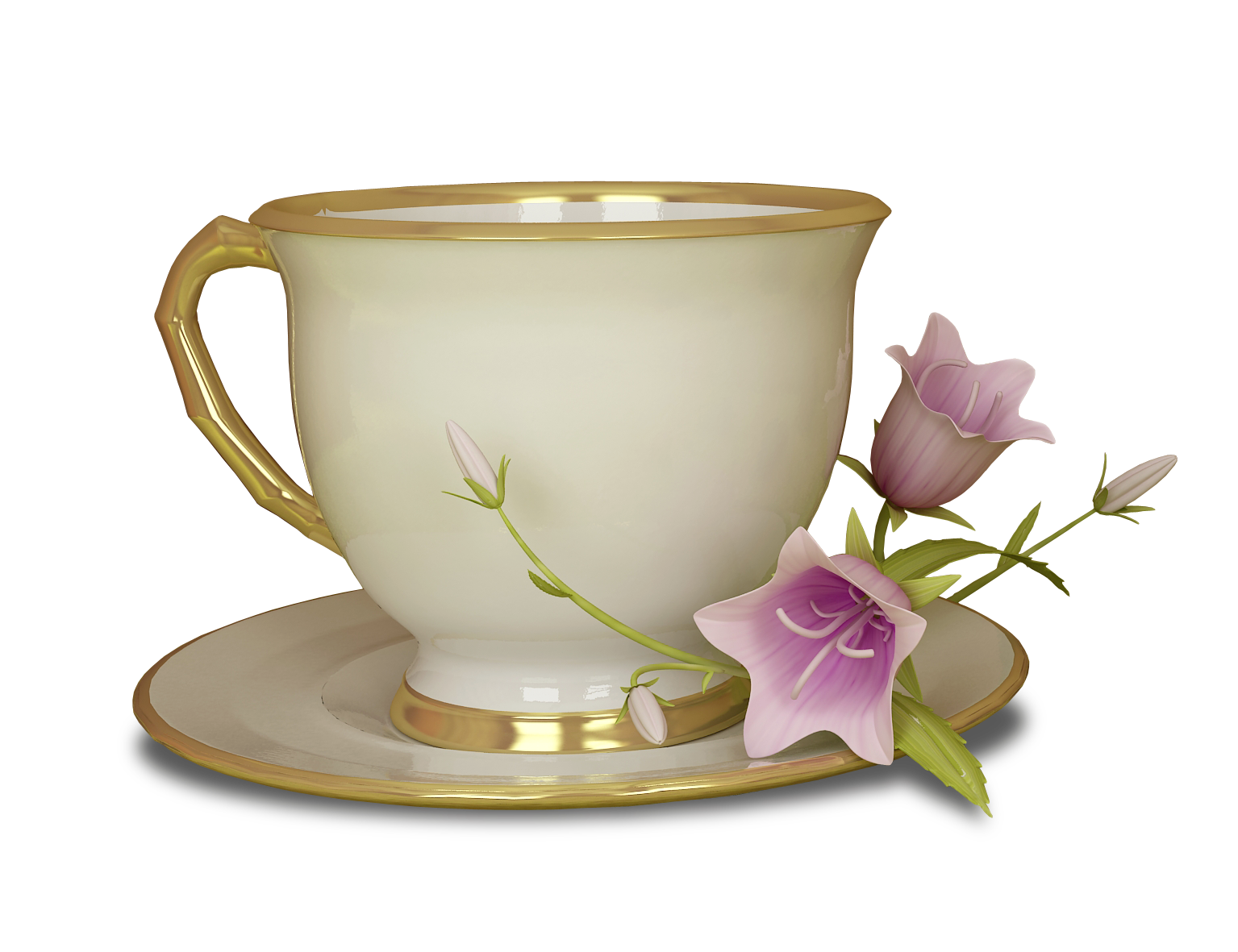 Cup clipart high resolution. Cream and gold tea