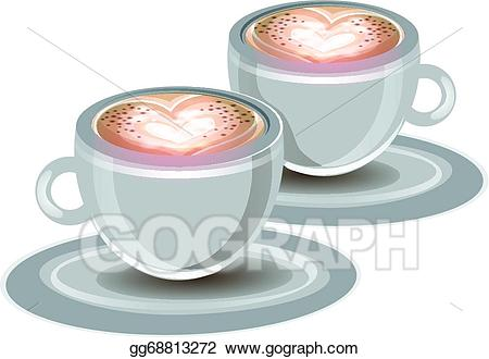 Vector cups of illustration. Clipart coffee foam
