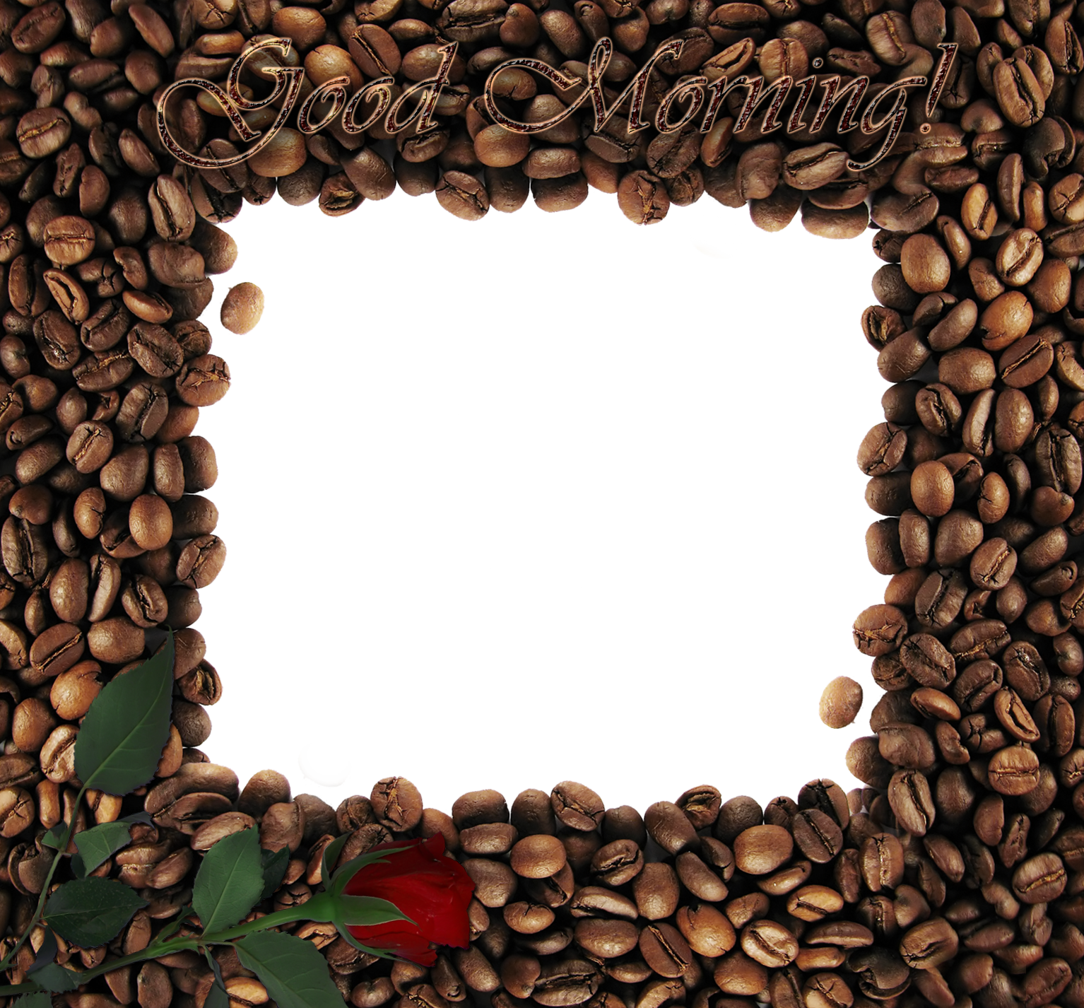 Clipart coffee frame. Good morning with rose