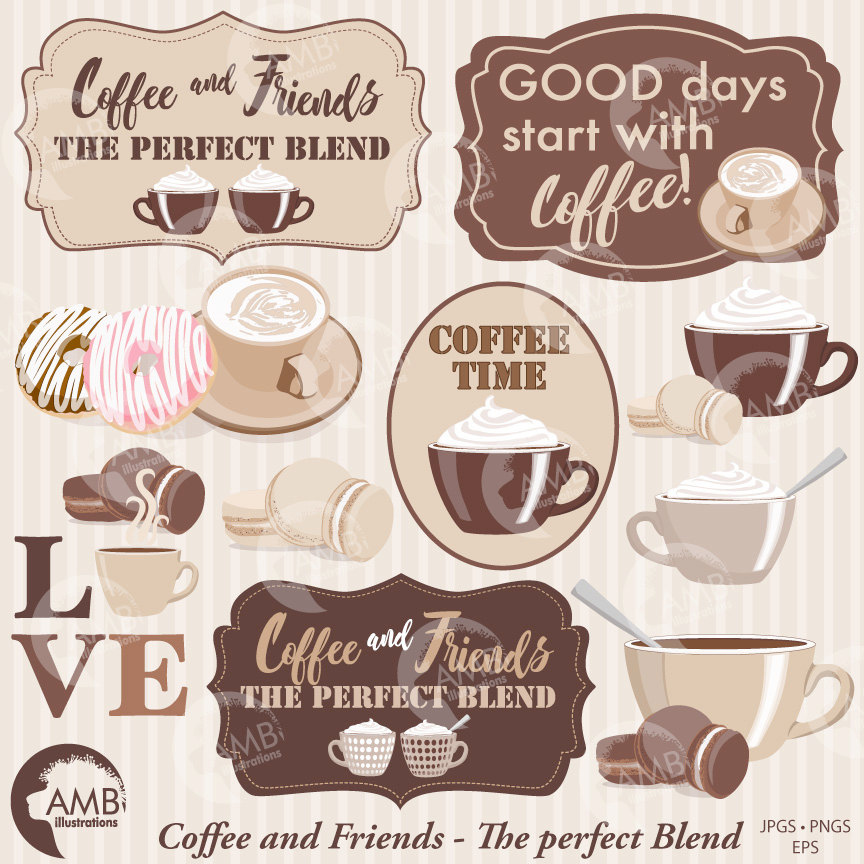 Coffee clipart frame. Time cups words amb