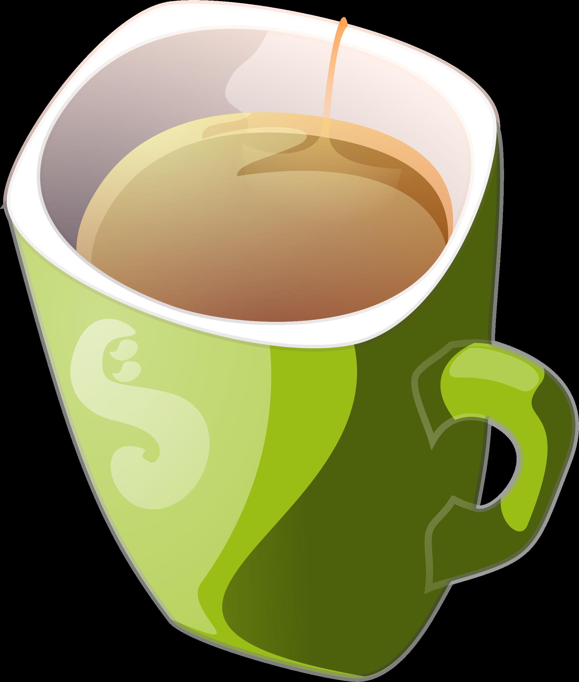 Clipart milk mug. Green of tea big