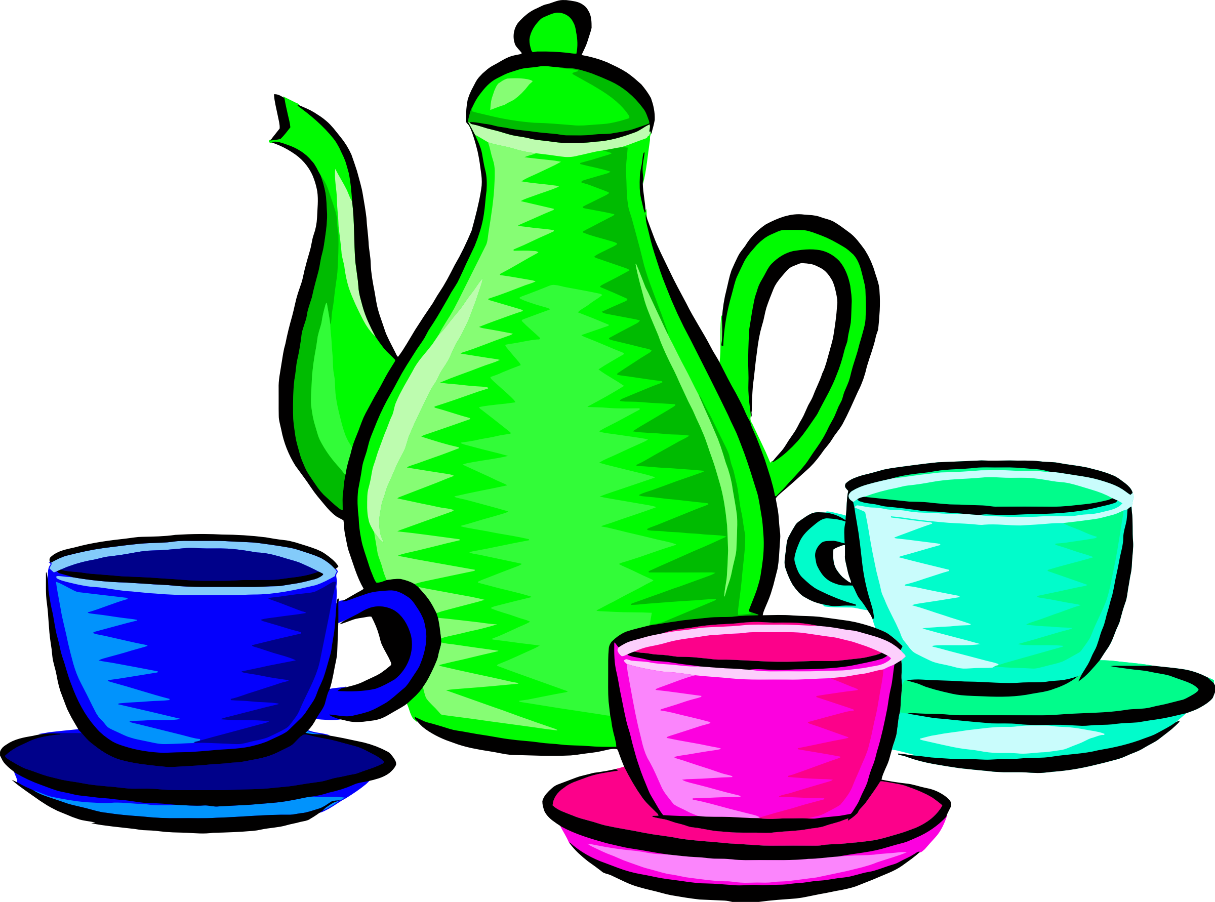 Coffee pot and cups. Clipart kitchen crockery