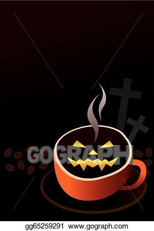 Coffee clipart halloween. Vector art cup design