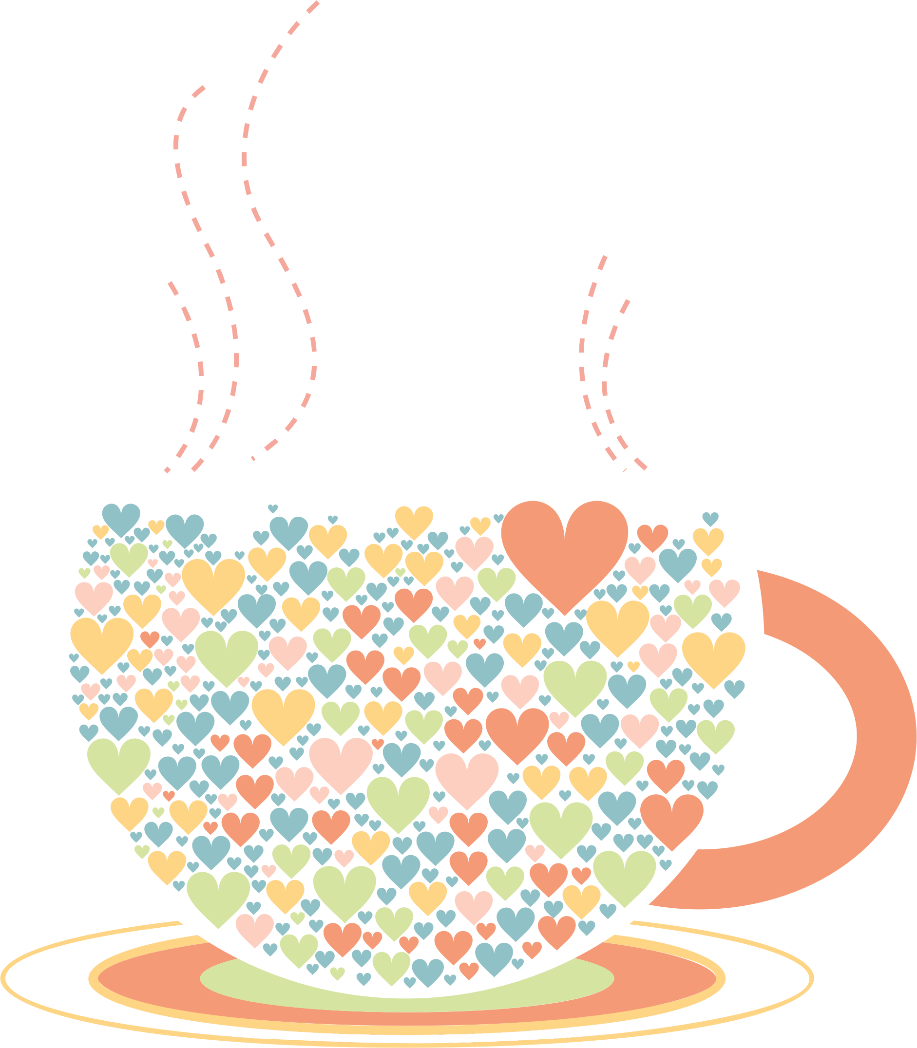 Clipart coffee heart. Love hearts by lin