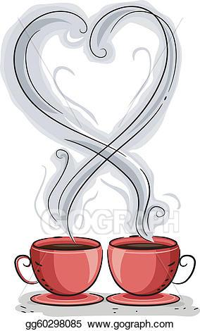 Eps vector stock illustration. Clipart coffee heart