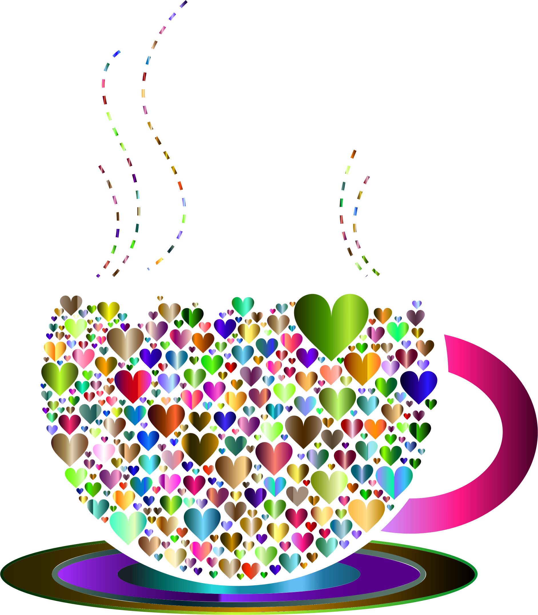 Prismatic love hearts by. Clipart coffee heart