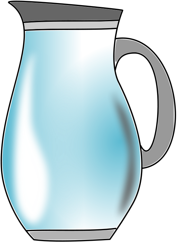 Pitcher of water panda. Clipart coffee jug