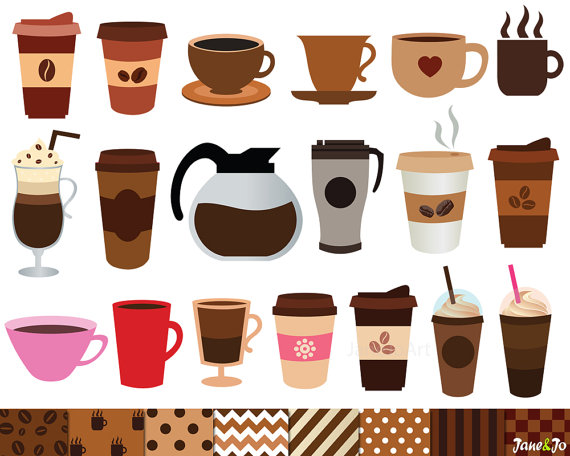 Clipart coffee latte.  and digital papers