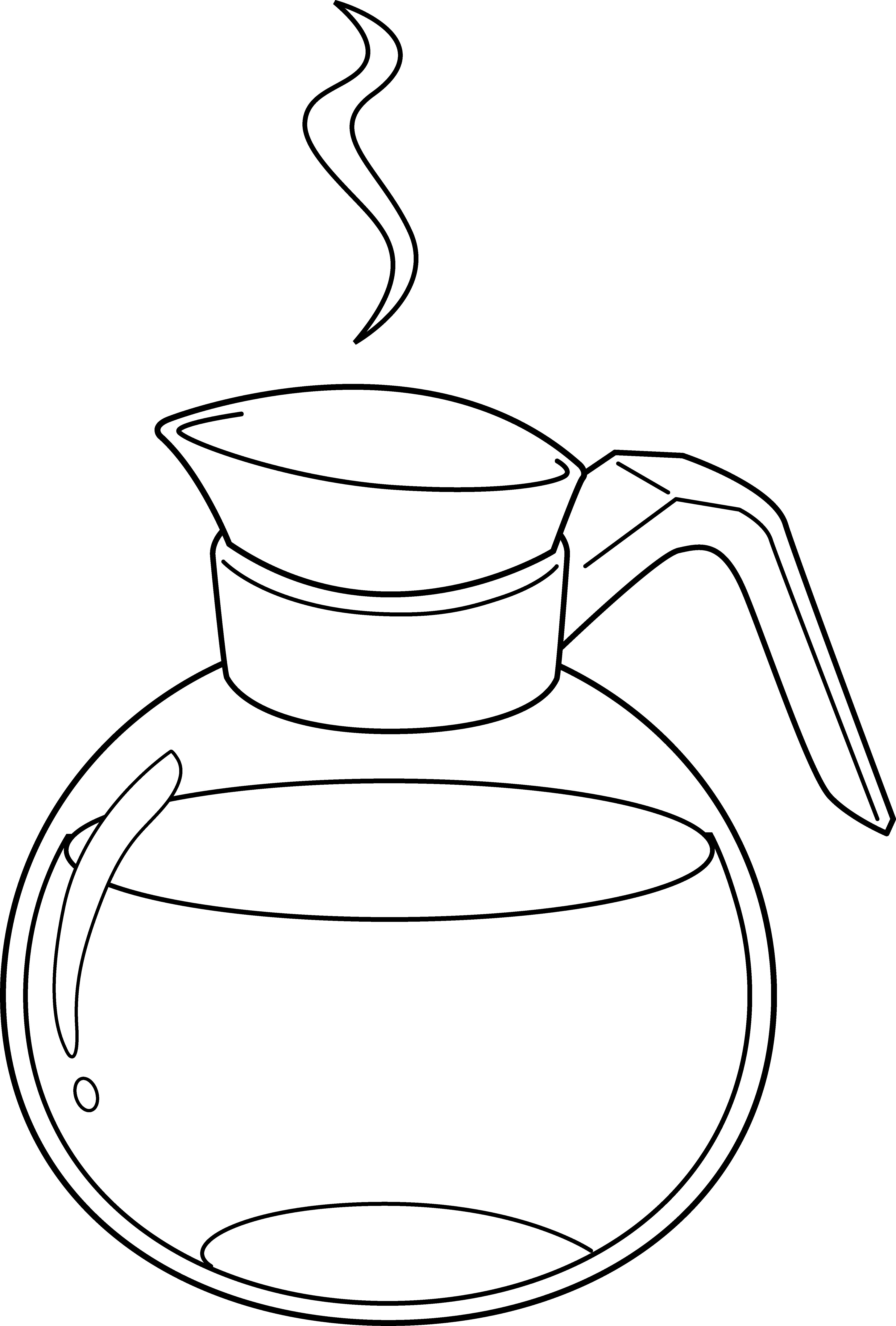 Pot free clip. Clipart coffee line art