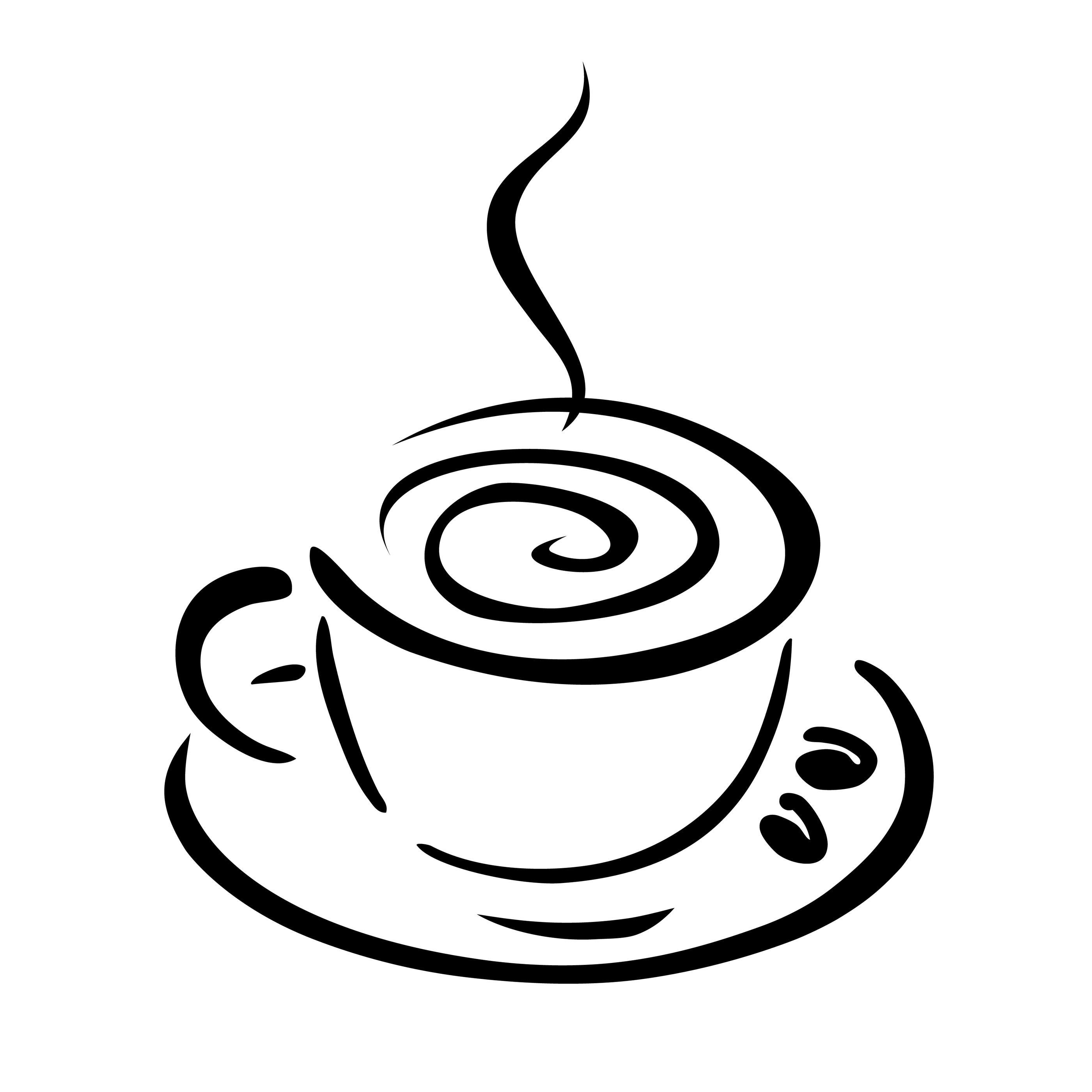 Hd cup clip black. Clipart coffee line art