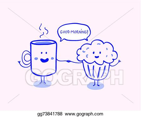 Clipart coffee muffin. Vector art cup of