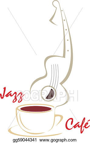 Vector illustration cup guitar. Clipart coffee music