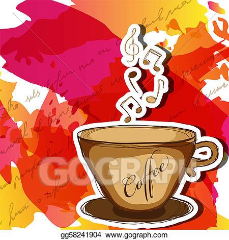 Clipart coffee music. Vector art eps gg