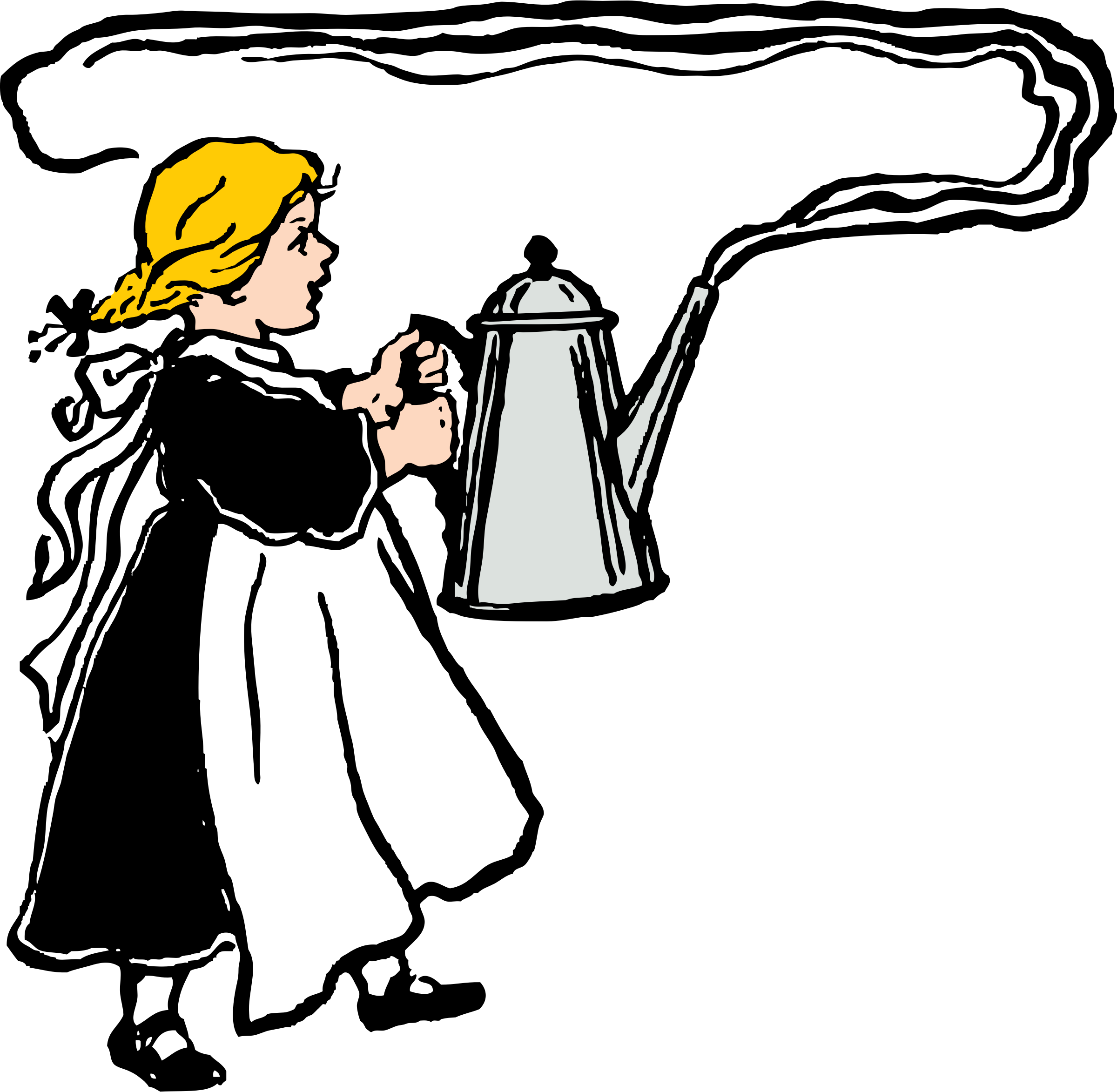 Dishwasher clipart transparent. Girl carries big steaming