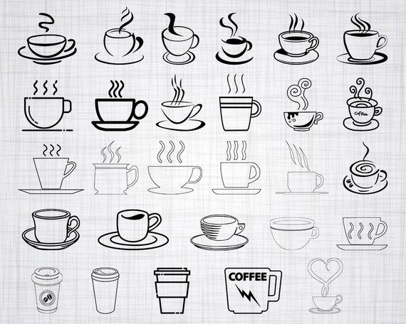 Clipart coffee outline. Cup svg bundle