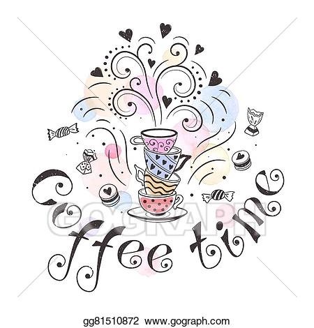 Clipart coffee party. Vector illustration time eps
