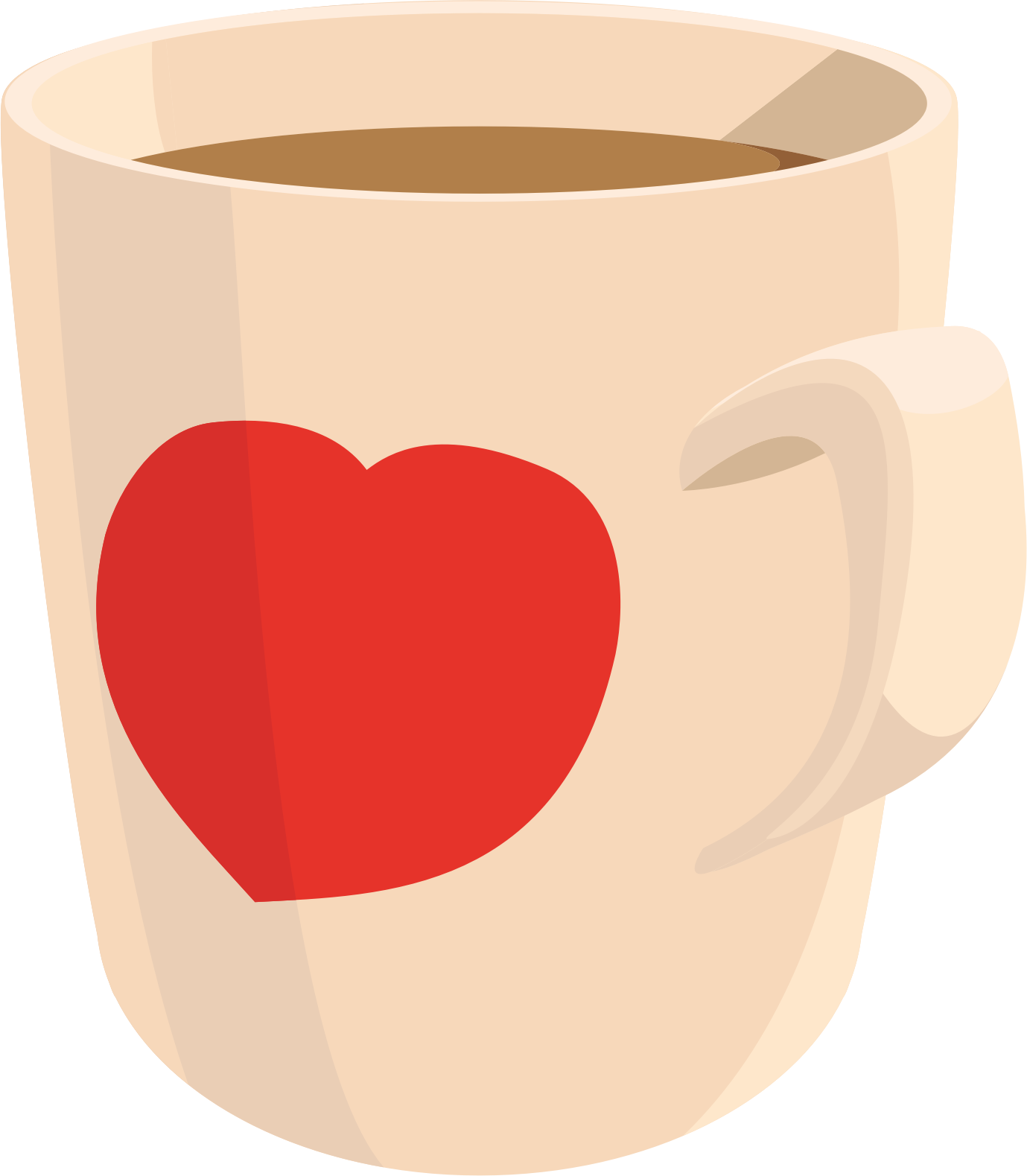 Coffee mug big image. Hearts clipart tea cup