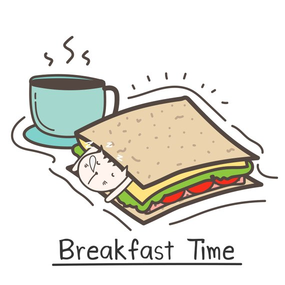 Breakfast time with cute. Coffee clipart sandwich