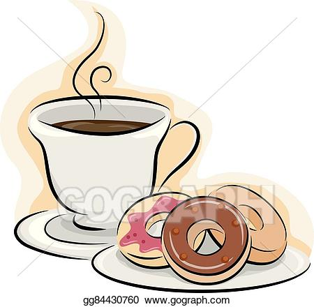 Eps vector donuts stock. Clipart coffee snack