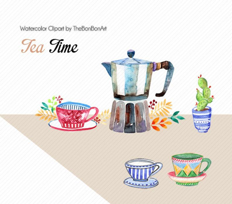 Watercolor teatime wedding graphics. Clipart coffee spring