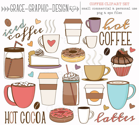 And tea donut latte. Coffee clipart thanksgiving