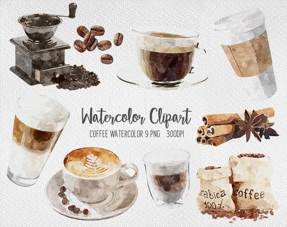 Shop cafe and pastries. Clipart coffee watercolor