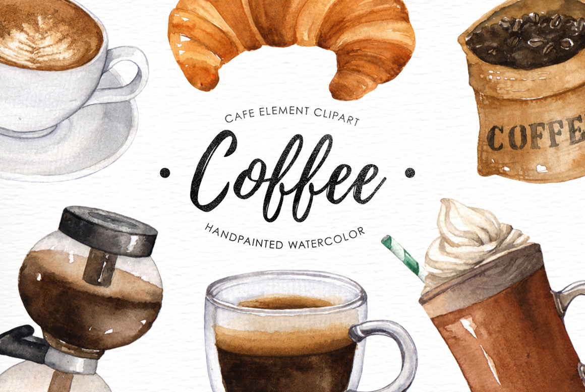 By everysunsun thehungryjpeg com. Clipart coffee watercolor