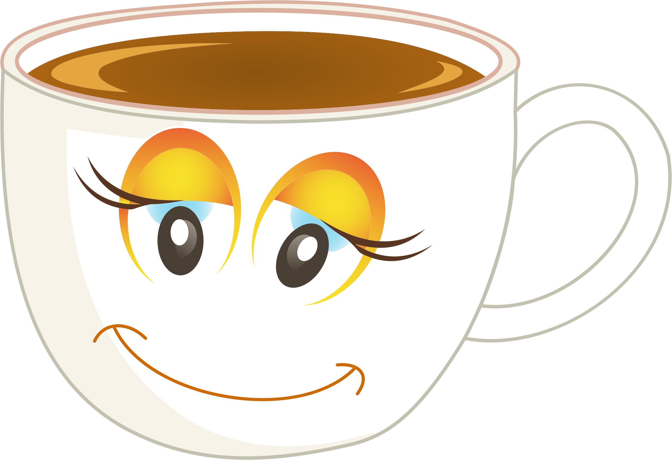 Anthropomorphic happy female cup. Clipart coffee woman